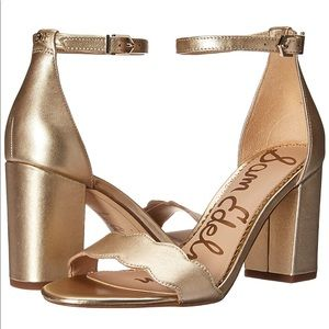 Sam Edelman Gold Scalloped Heels